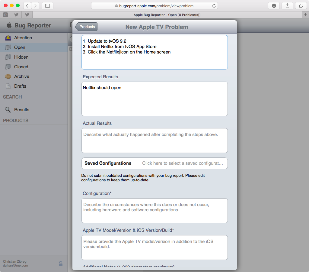 Apple Bug Reporter web screenshot 009