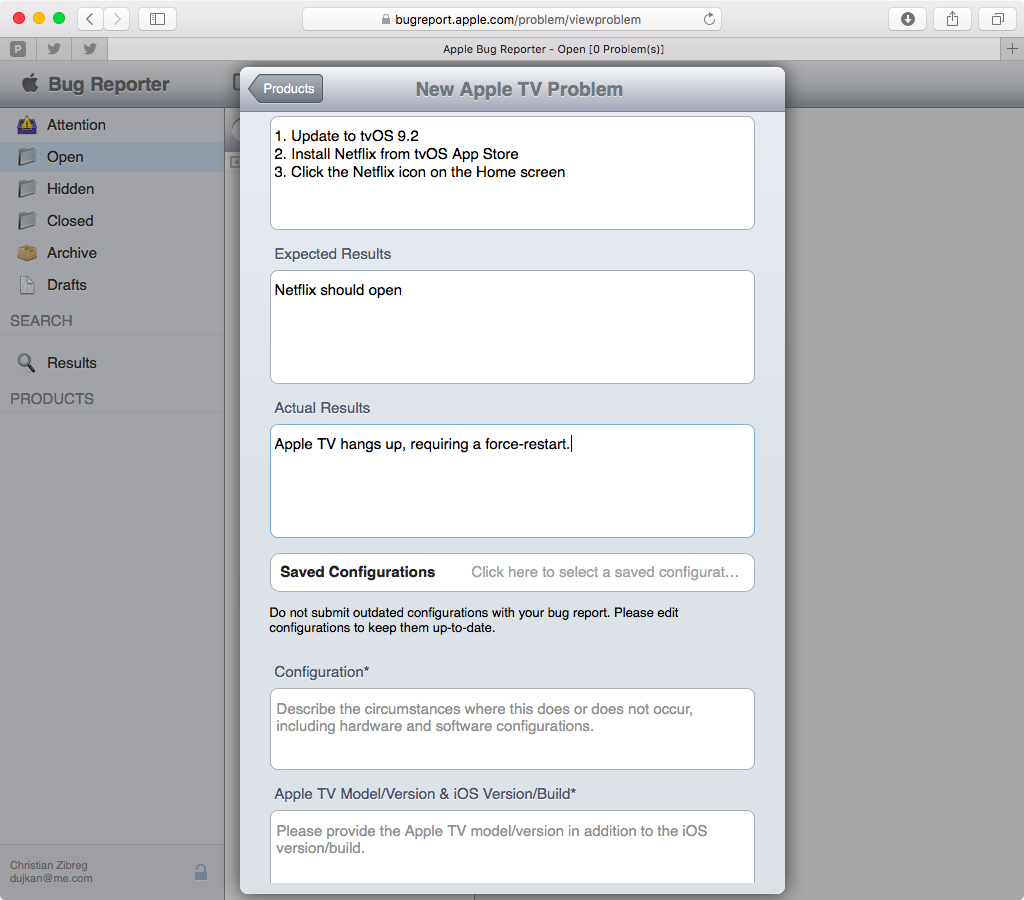 Apple Bug Reporter web screenshot 010