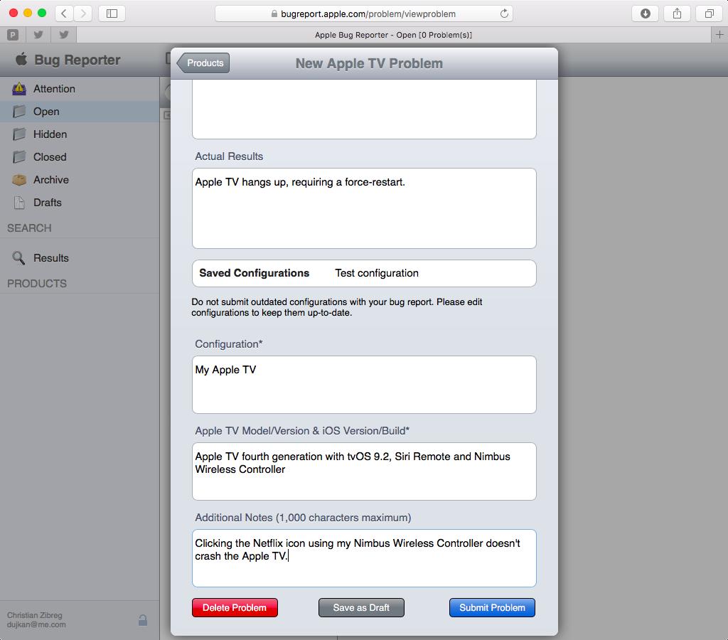 Apple Bug Reporter web screenshot 011
