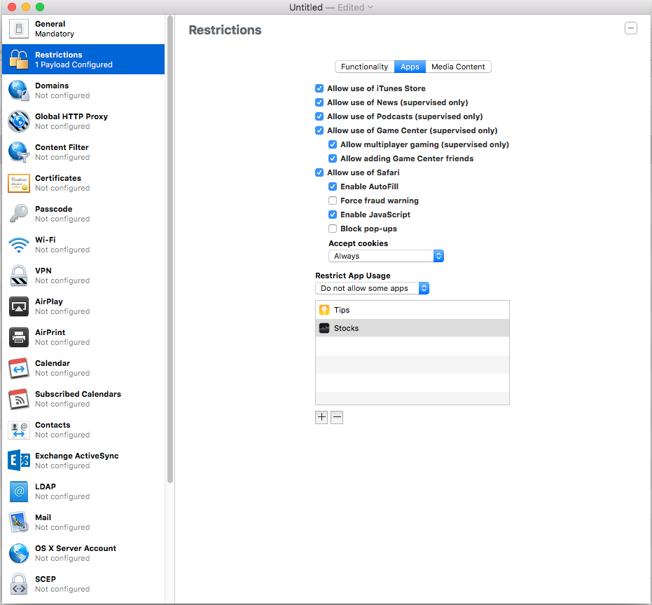 Apple Configurator Restrictions profile hiding apps MAc screenshot 001