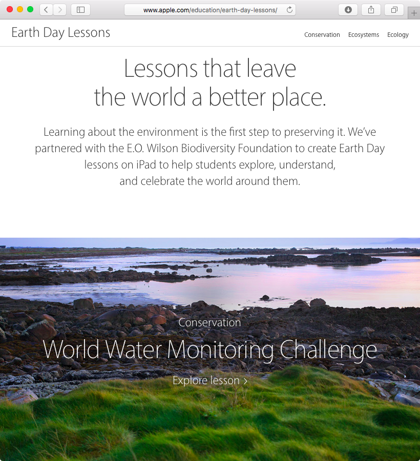 Apple Earth Day lessons web screenshot 001