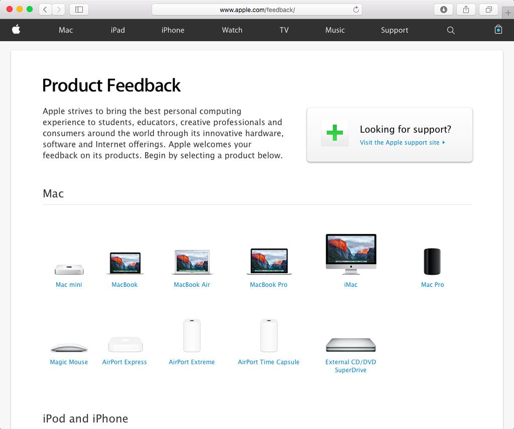 Apple Feedback web screenshot 001