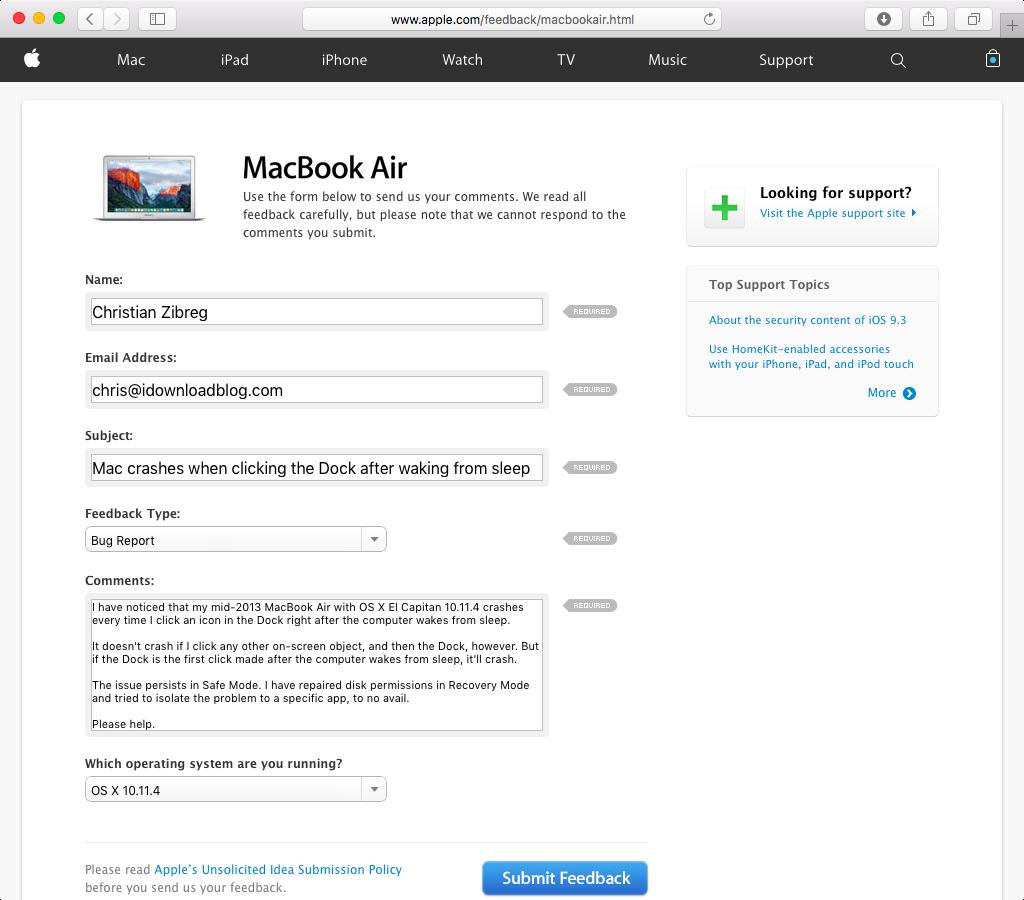 Apple Feedback web screenshot 002