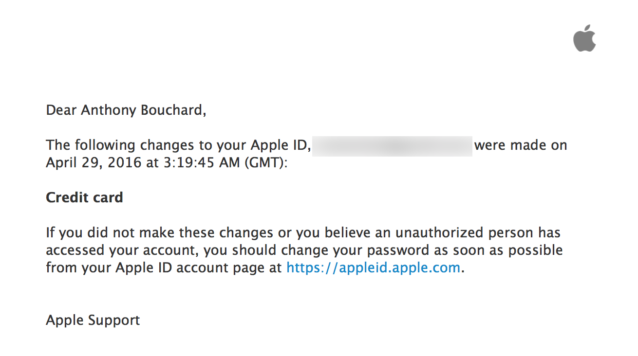 Apple ID credit card changes email confirmation