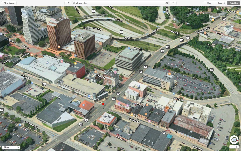 Apple Maps Flyover Akron Ohio Mac screenshot 001