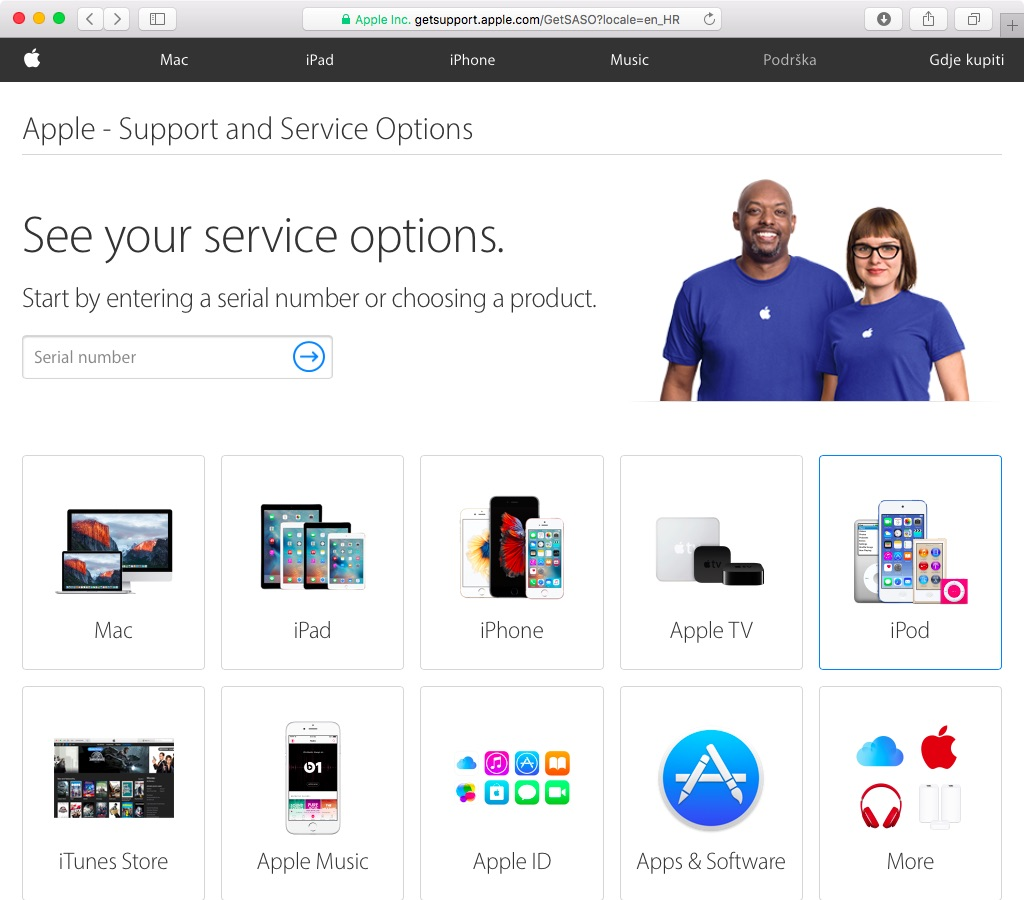 Apple Support and Service Options web screenshot 001
