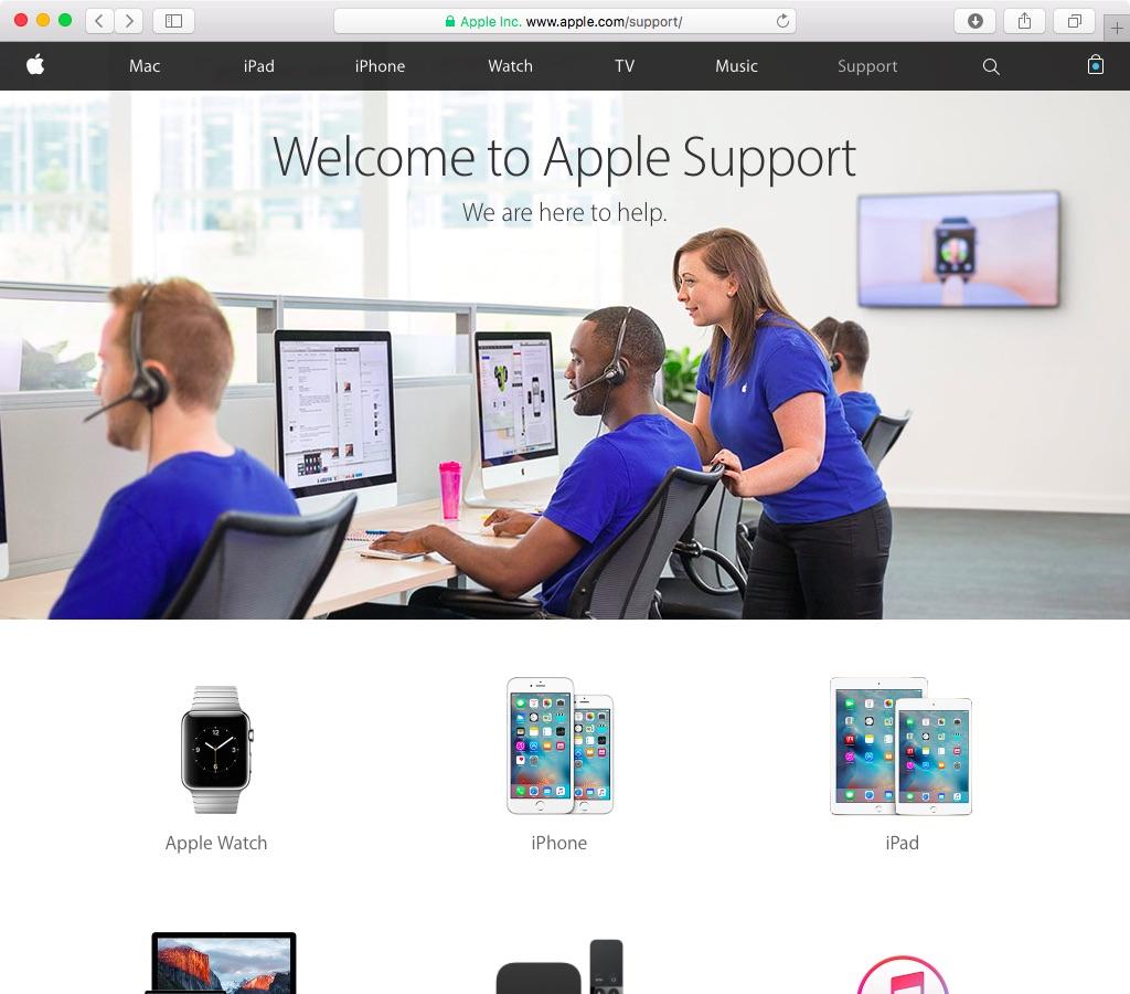 Apple Support web screenshot 001