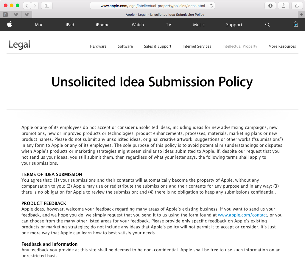 Apple Unsolicited Idea Submission Policy web screenshot 001