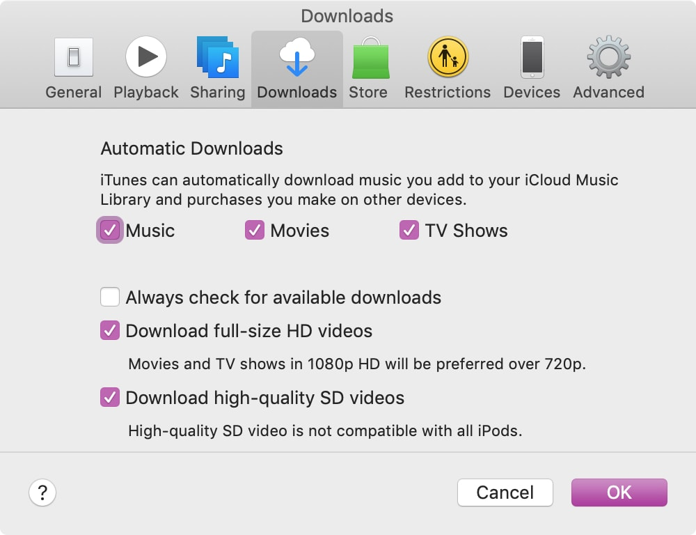 Automatic Downloads in iTunes on Mac
