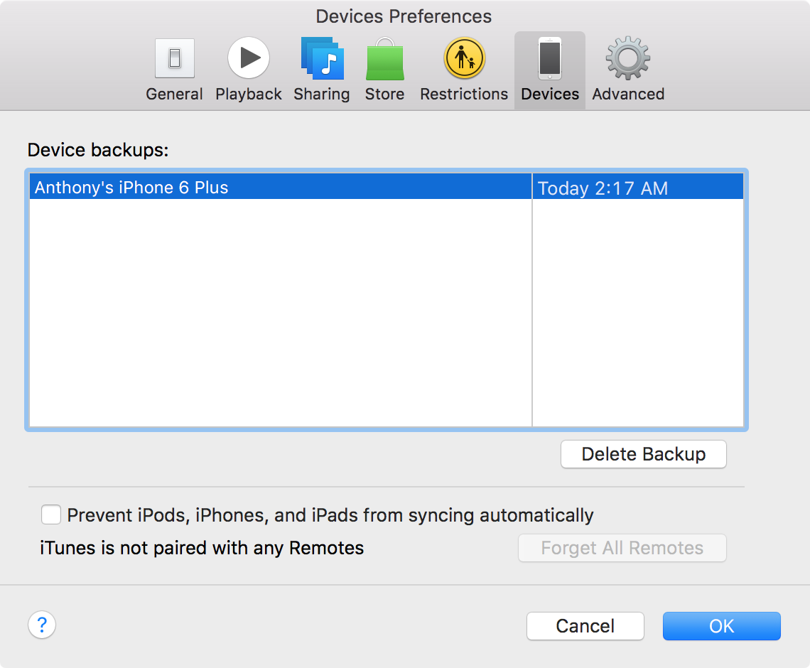 Back up iPhone with iTunes Backup list