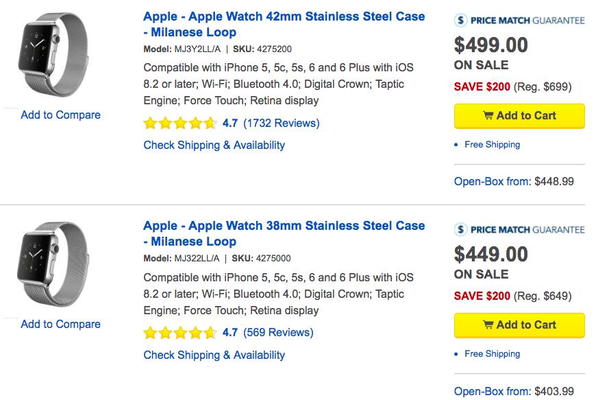 Best Buy Apple Watch stainless steel deals web screenshot 001