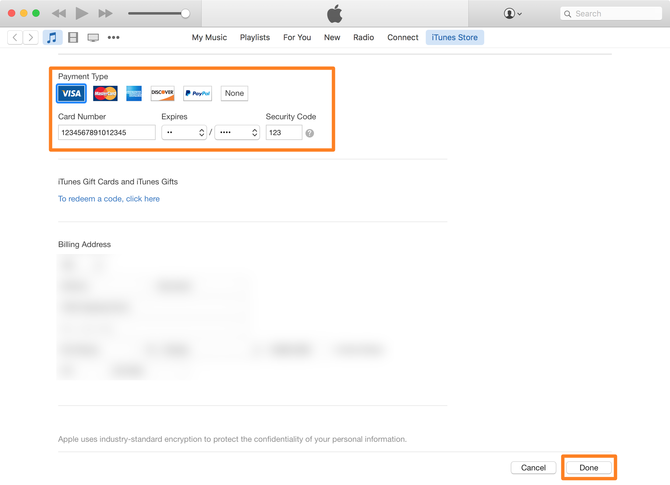 Change apple id payment information Mac payment type