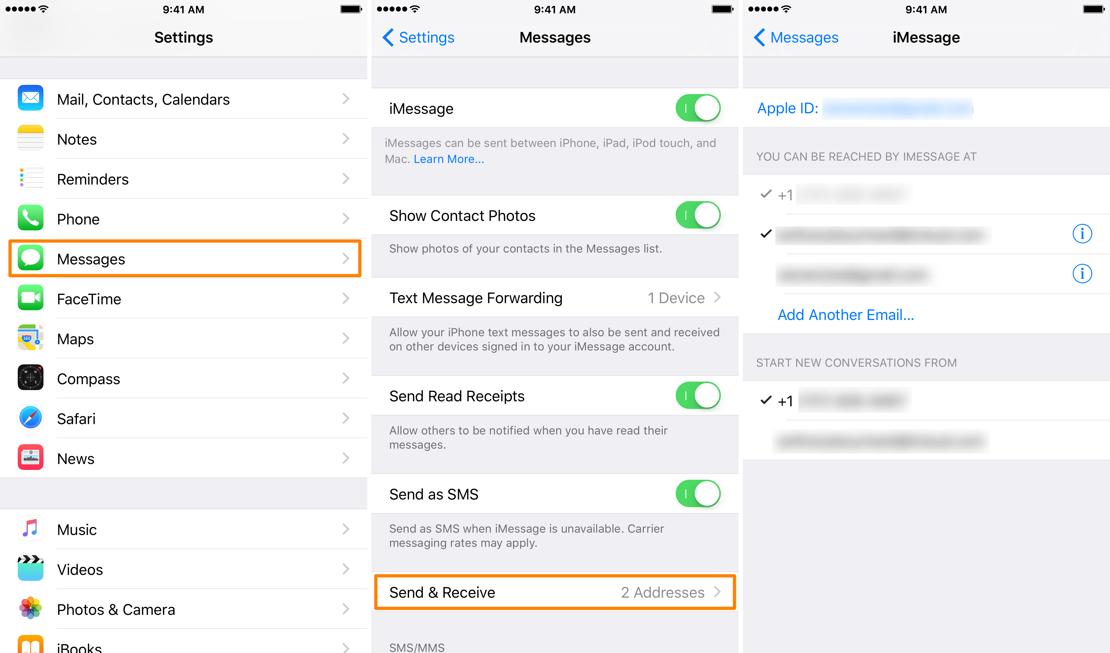 change imessage email on iOS