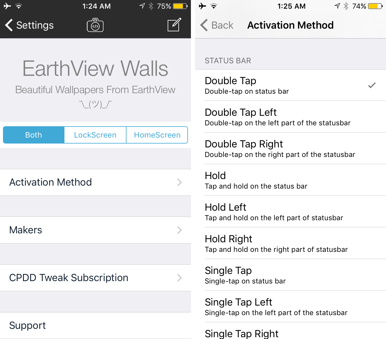 EarthView Walls Preferences pane options to configure