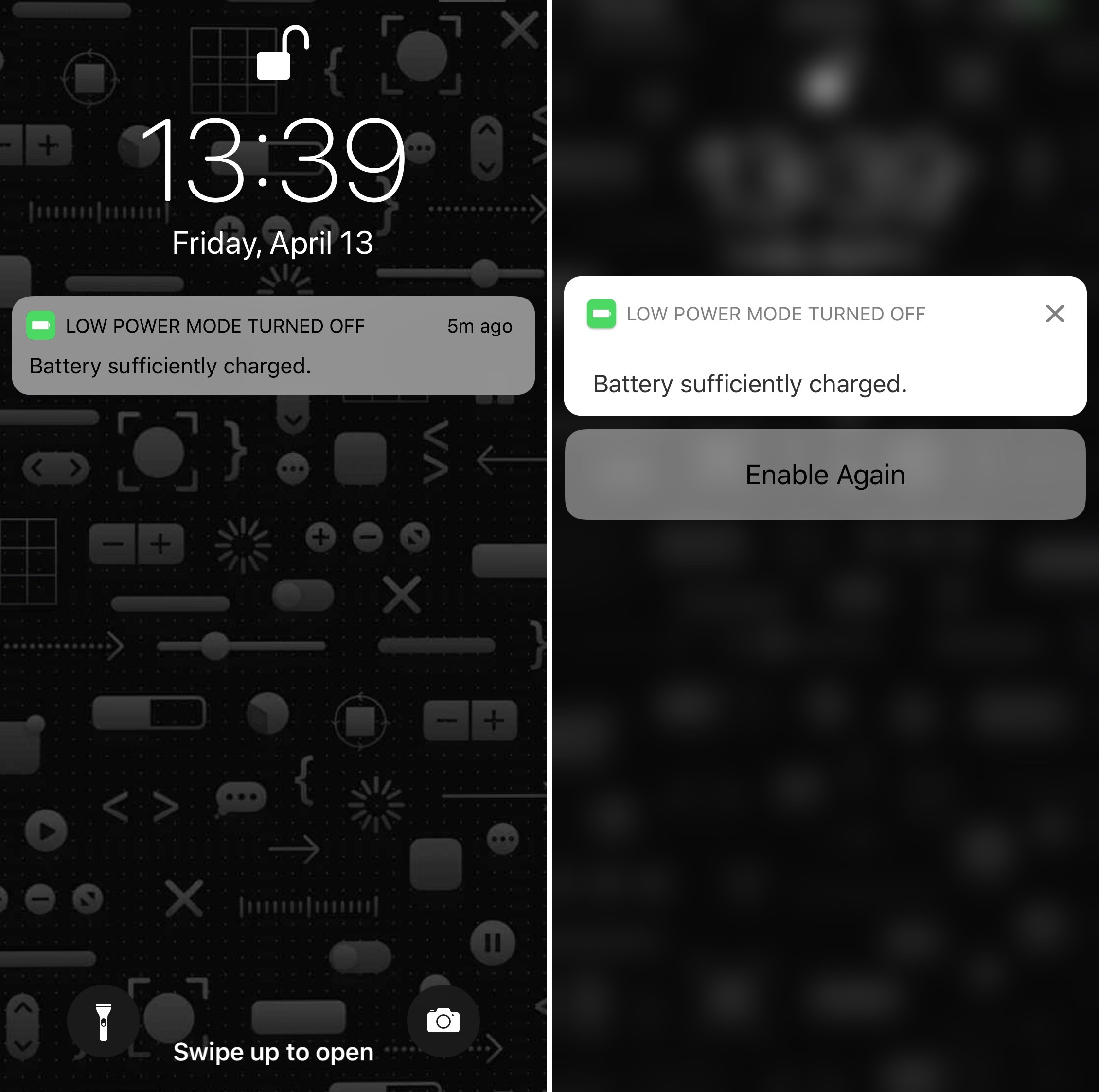 Enable low power mode from Lock screen