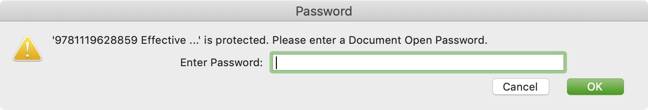 Enter Password for PDF on Mac