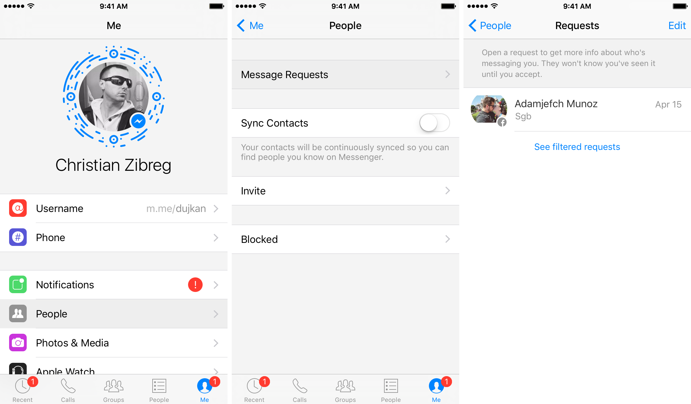 Captura de pantalla 006 de iPhone Messenger for iOS Filtered Requests para iPhone