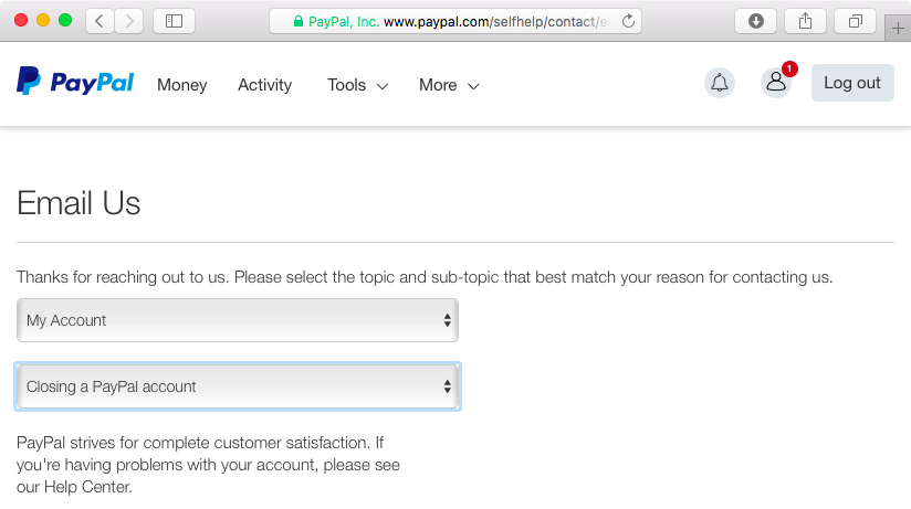 Ask PayPal to close your account