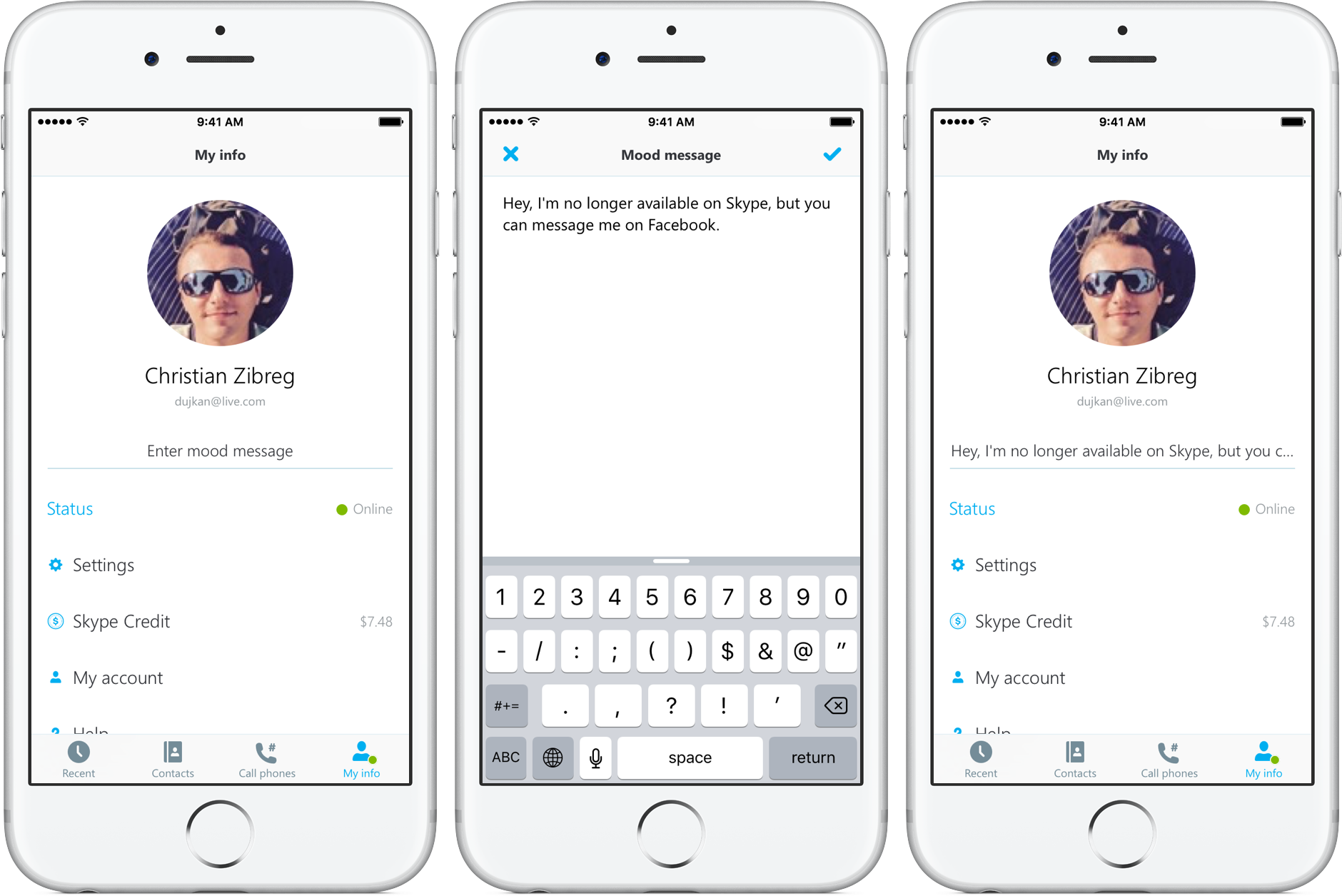 Update your Skype status