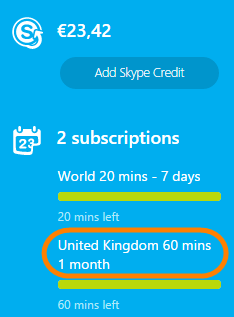 Cancel Skype subscriptions