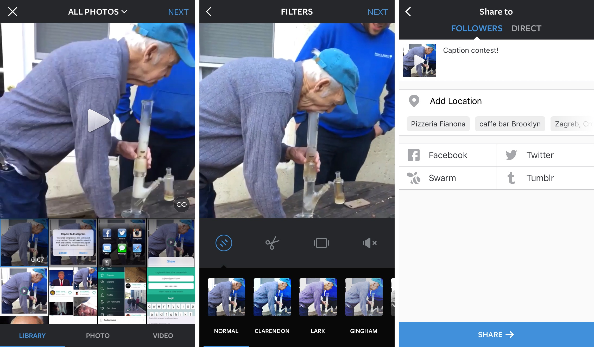 How to repost Vine videos on Instagram with VineGrab iPhone screenshot 004