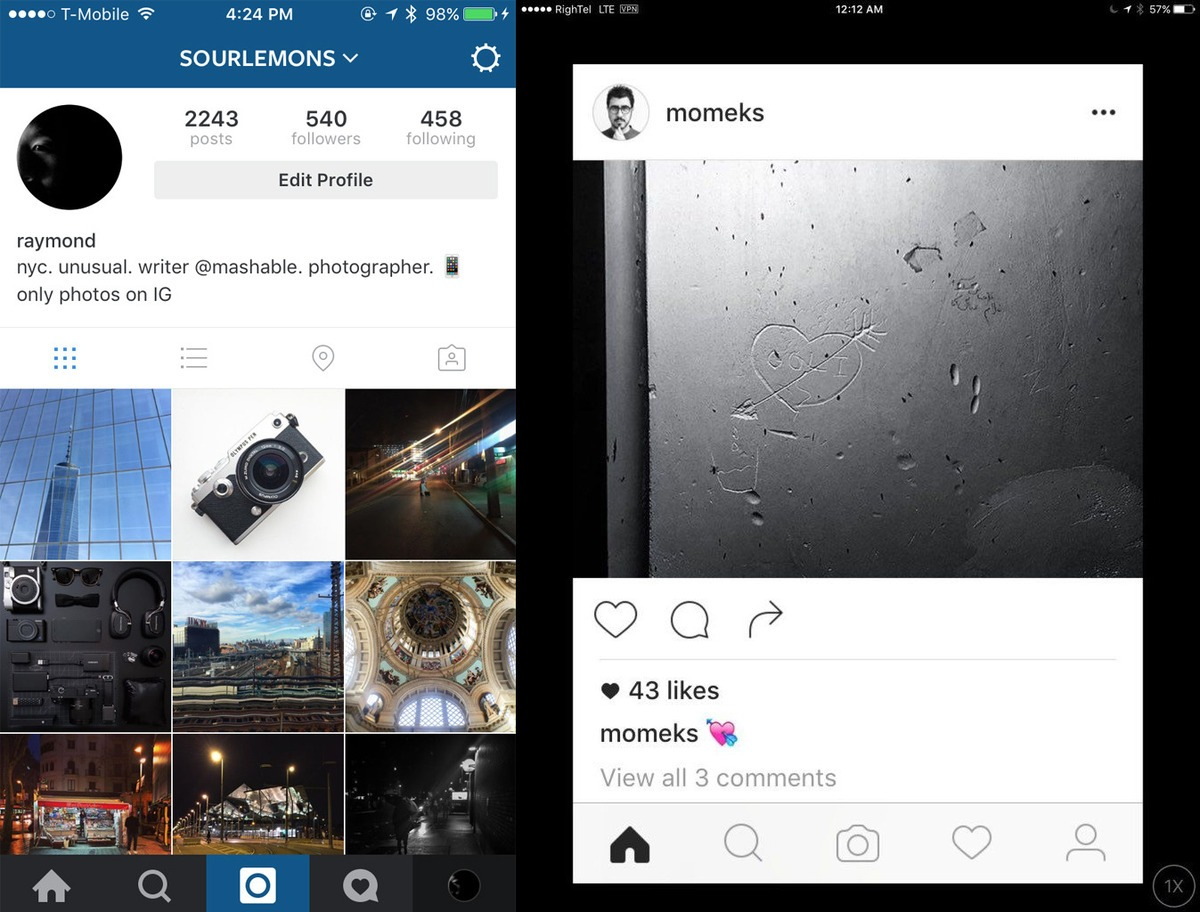 Instagram redesign iPhone screenshot Mashable 001