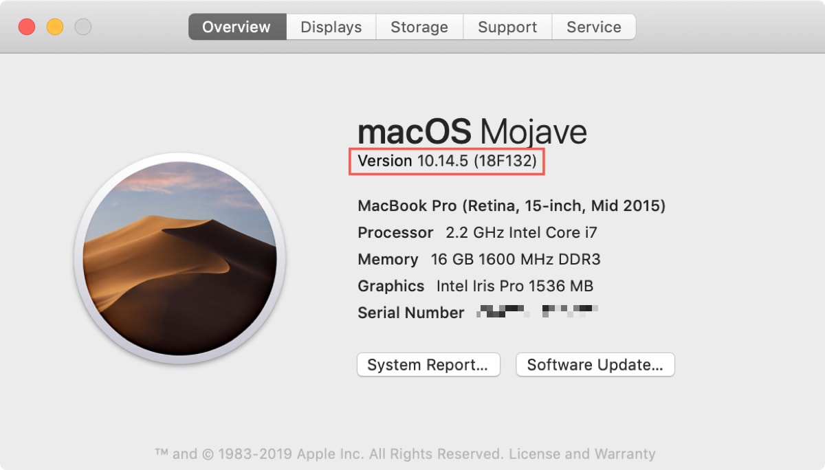 Mac Version and Build
