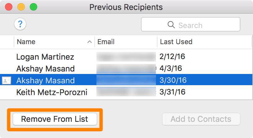 delete email addresses from mac mail - Remove from list email address history