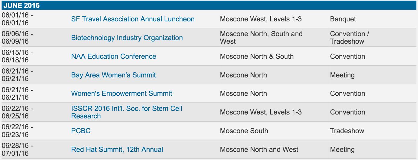 Moscone West scheduling June 2016 web screenshot 001