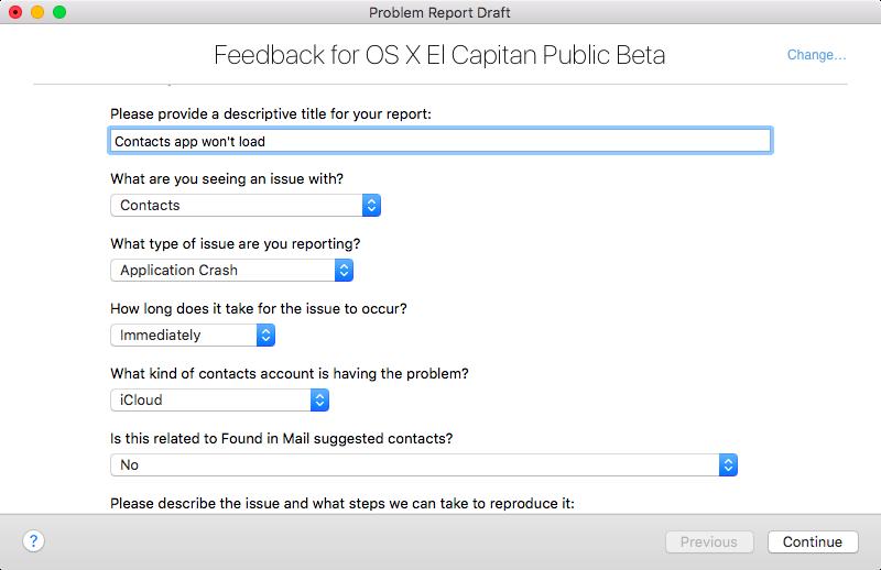 OS X El Capitan Feedback Assistant Mac screenshot 005