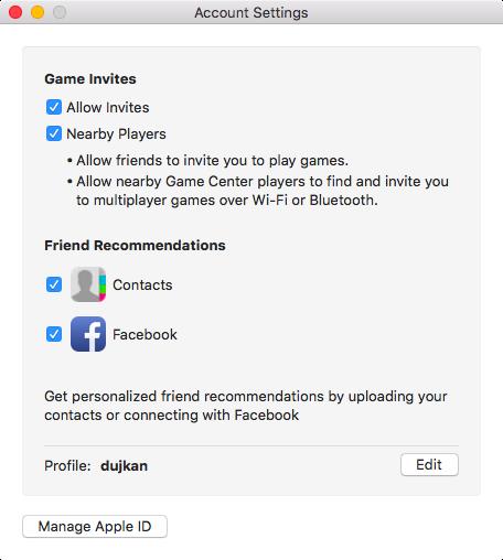 OS X El Capitan Game Center settings Mac screenshot 001