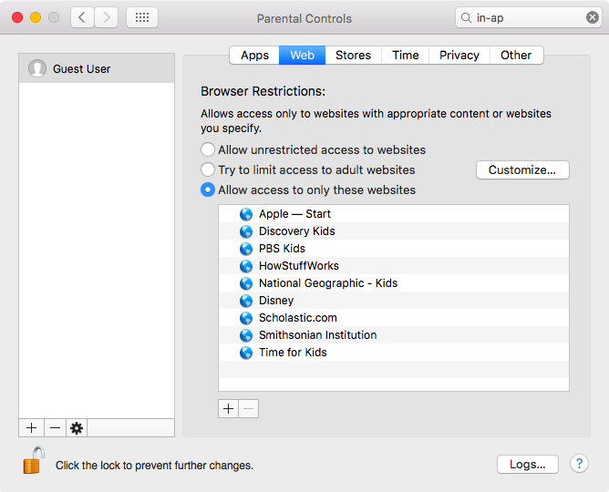 Restrict websites on Mac