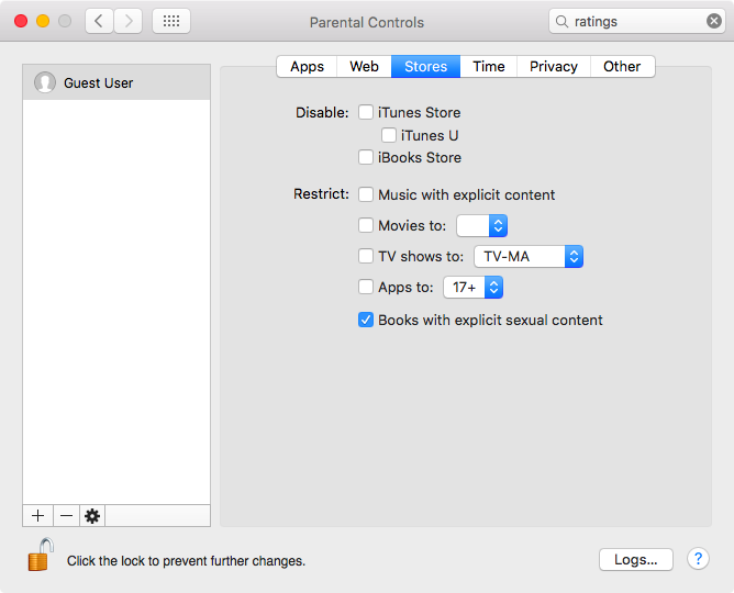 Disable books with explicit sexual content on Mac