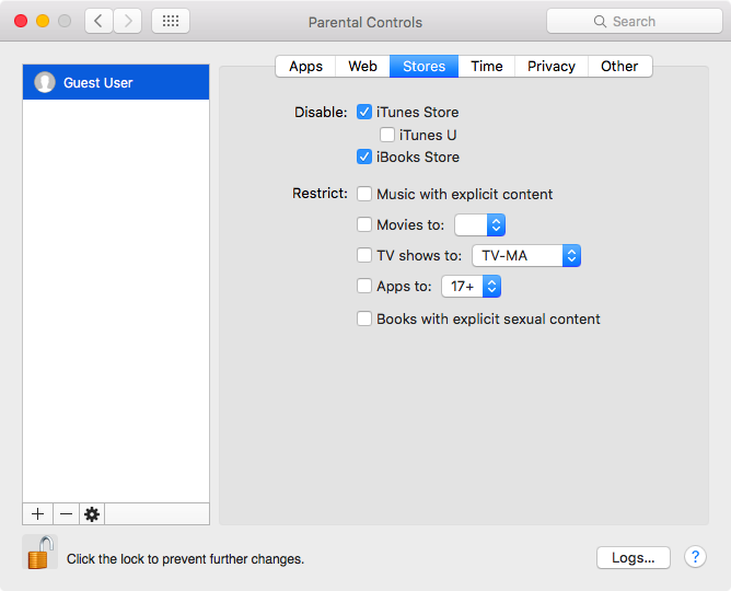 System Preferences Parental Controls on Mac