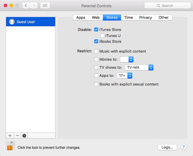 Preferencias del sistema Controles parentales en Mac