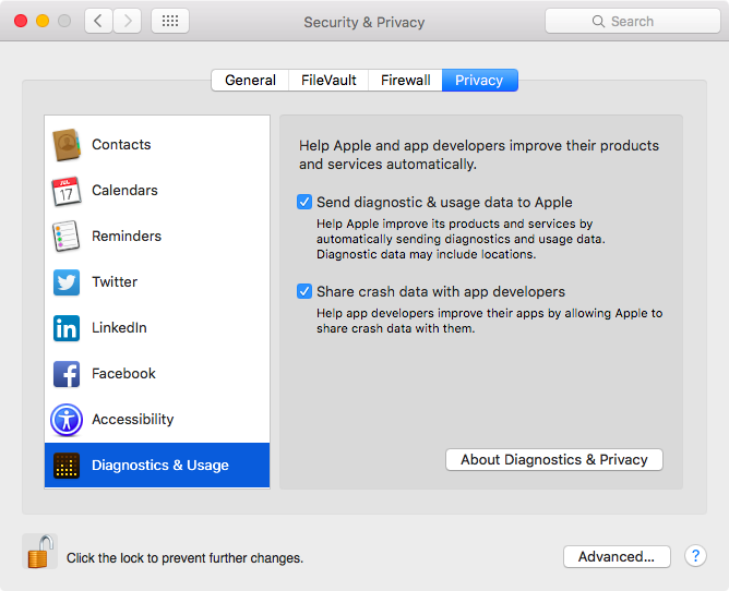 OS X El Capitan System Preferences Secirty and Privacy Diagnostics and Usage data Mac screenshot 001