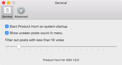 Product Hunt for OS X settings Mac screenshot 001