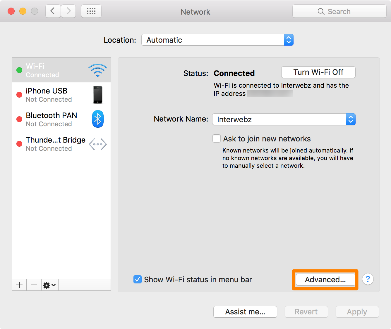 Advanced Network preferences on Mac