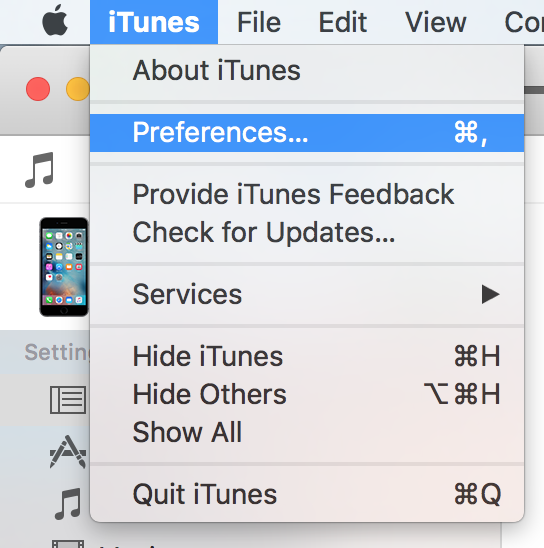 Verify iTunes Backup Menu Bar option