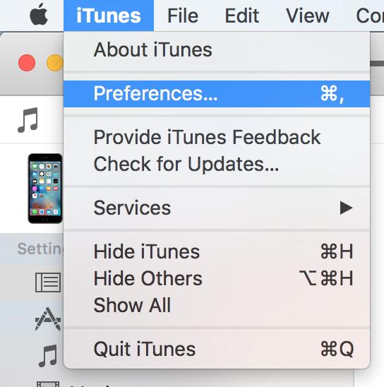 Verify iTunes Backup Menu Bar option
