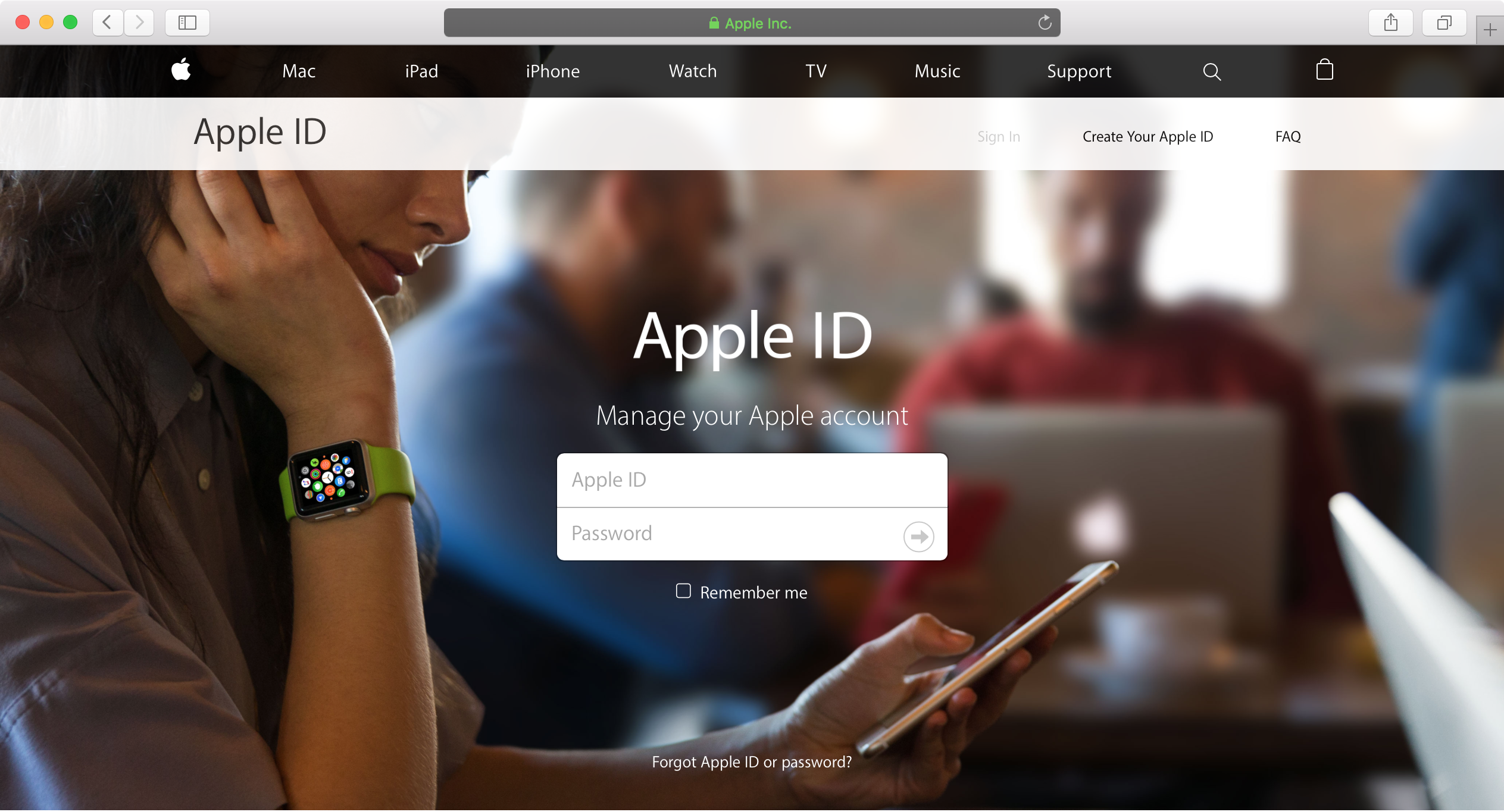 Apple ID sign in page Apple website