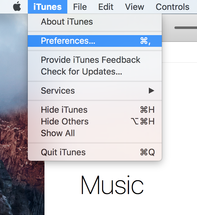 iTunes Preferences Menu Bar