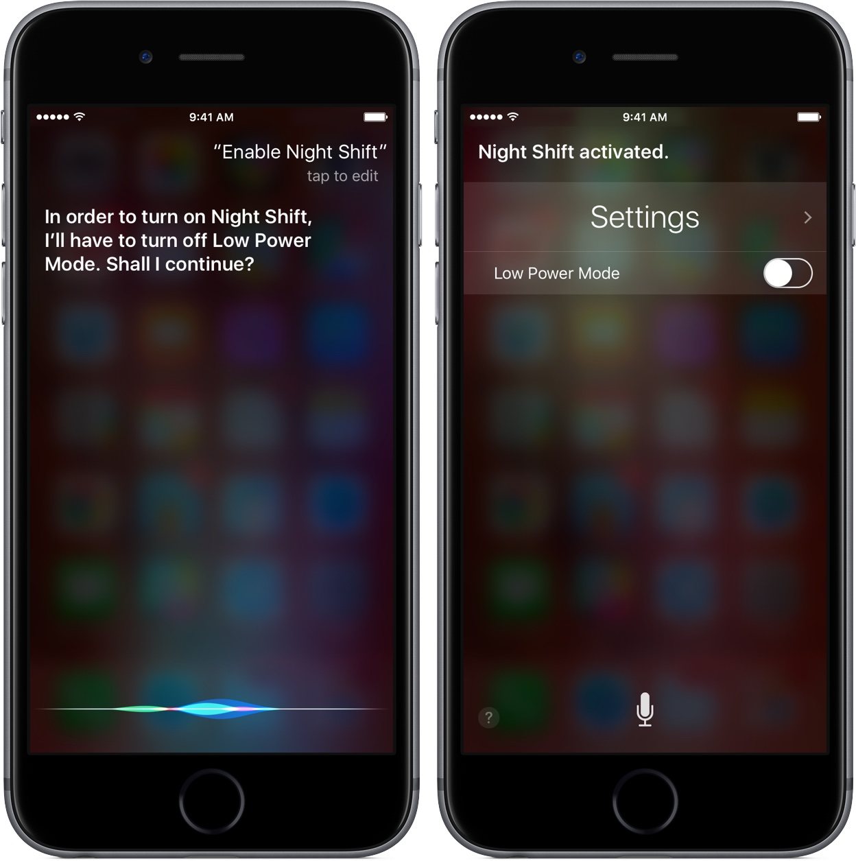 Siri Night Shift en modo de bajo consumo iPhone 6s captura de pantalla 001
