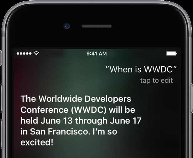 Siri WWDC 2016 date
