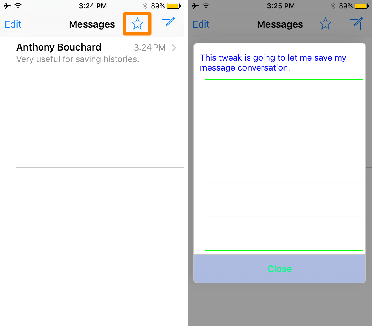 SmsSave open saved messages menu