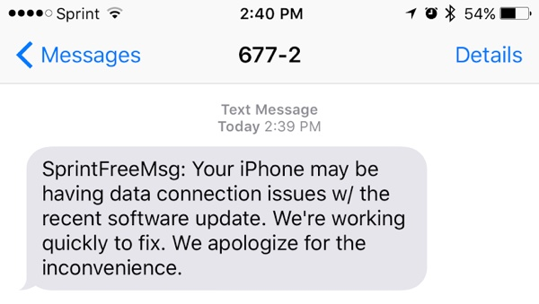Sprint message iPhone LTE issue