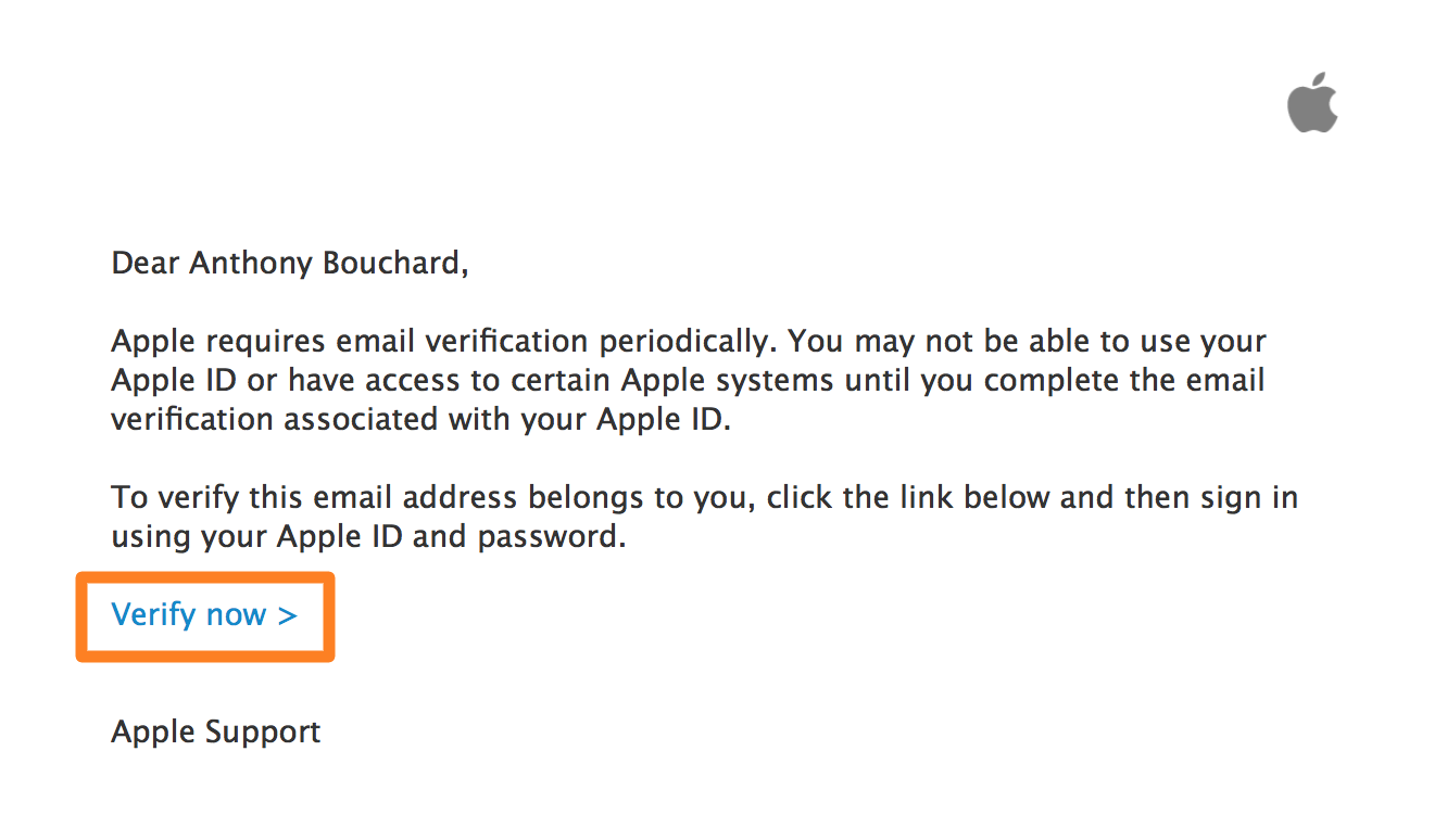 Verify Apple ID Email