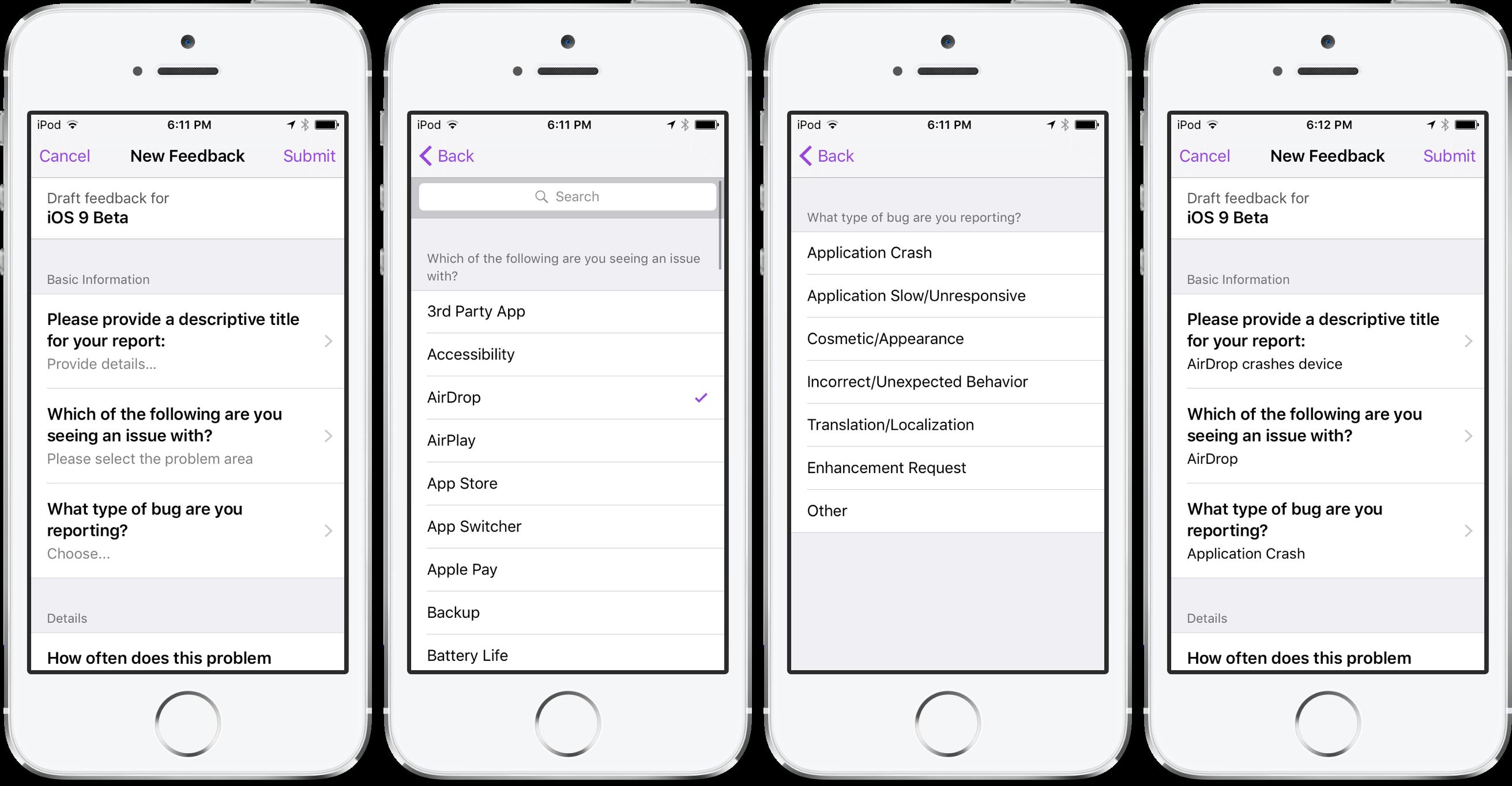 iOS 9 El Capitan Feedback Assistant iPod touch screenshot 005