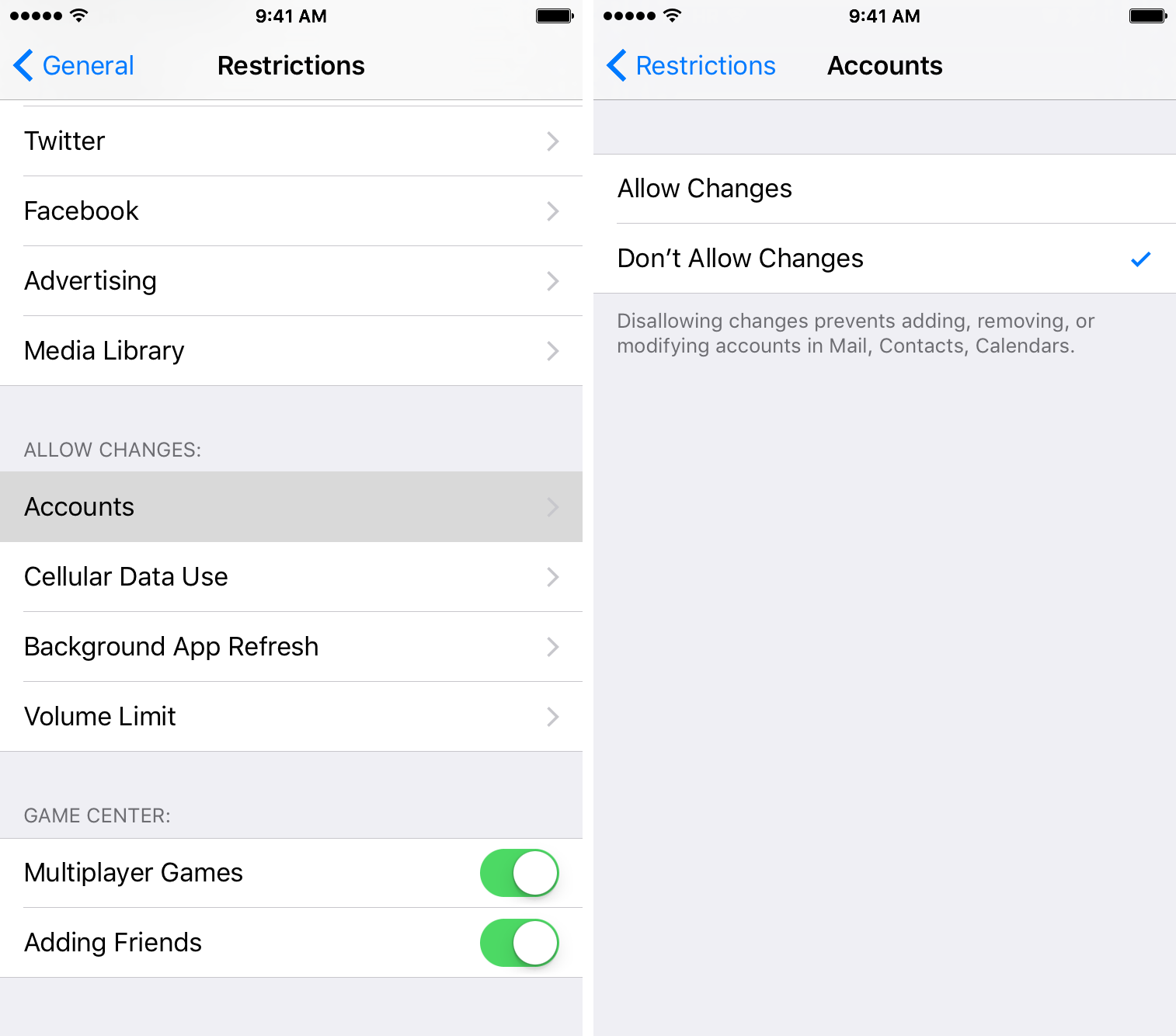 iOS 9 How to restrict accounts iPhone screenshot 001