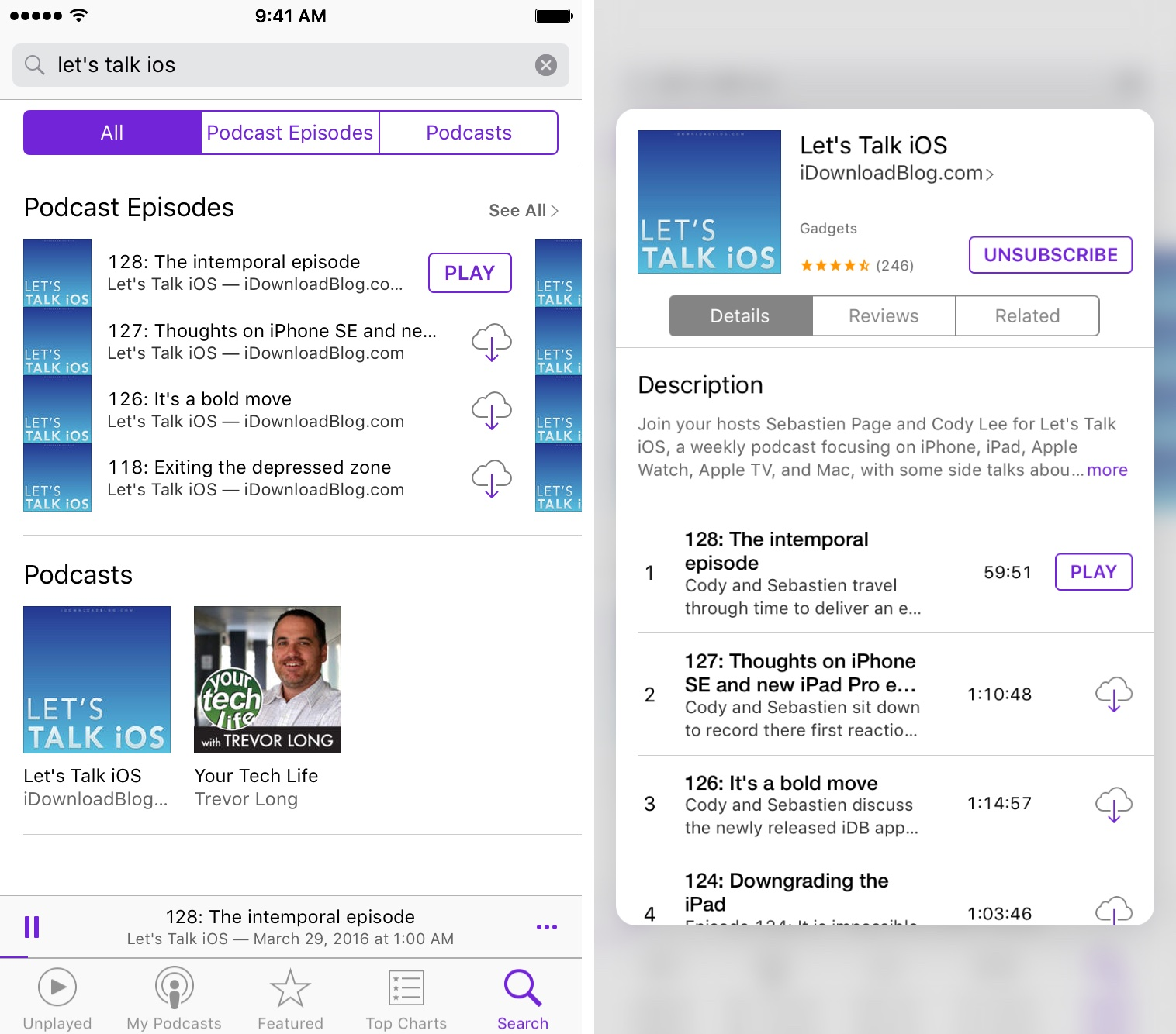 iOS 9 Podcasts 3D Touch Home vista previa iPhone 6s captura de pantalla 002